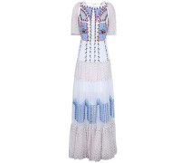 Open-back embroidered point d'esprit and crepe de chine maxi dress