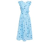 Woman Ruffled Floral-print Cotton-poplin Midi Dress Light Blue