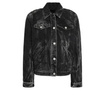 Eyelet-embellished Denim Jacket Black