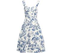 Woman Pleated Floral-print Cotton-blend Bouclé Dress Azure