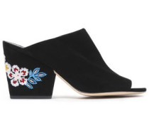 Embroidered suede mules