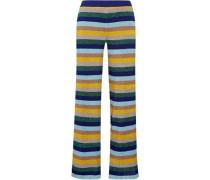 Striped metallic crochet-knit wide-leg pants