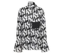 Woman Tie-neck Fringe-trimmed Printed Satin Blouse Black