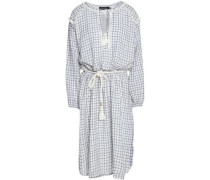 Hailey fringe-trimmed checked cotton dress