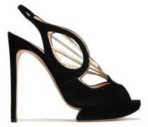 Metallic leather-trimmed suede platform sandals