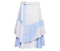 Layered Striped Cotton Skirt Light Blue