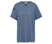 Bead-embellished Cashmere And Silk-blend T-shirt Light Blue
