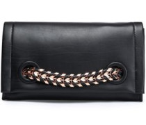 Chain-trimmed leather clutch