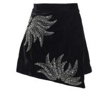 Embellished Chenille Mini Wrap Skirt Black