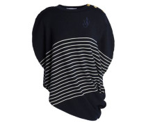 Draped Embroidered Striped Merino Wool Top Midnight Blue