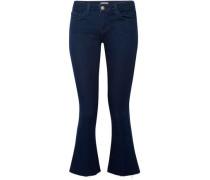 The Charlie Frayed Low-rise Kick-flare Jeans Dark Denim  4