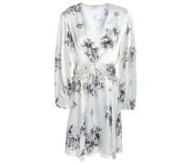 Woman Cameron Twist-front Floral-print Satin Mini Dress Ivory