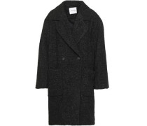 Woman Double-breasted Bouclé-tweed Coat Charcoal