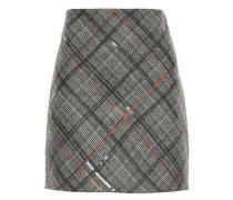 Sequin-embellished Prince Of Wales Checked Wool Mini Skirt Anthracite