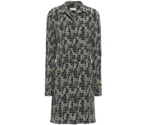 Belted Printed Washed-silk Mini Shirt Dress Army Green