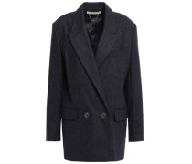 Double-breasted Mélange Wool Blazer Navy