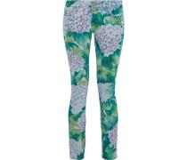 Floral-print Low-rise Skinny Jeans Jade