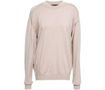 Layered Merino Wool And Slub Cotton-blend Sweater Beige