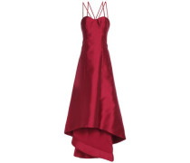 Asymmetric flared duchesse satin-twill gown