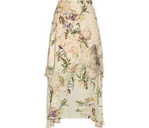 The Garden Ruffle-trimmed Floral-print Silk Crepe De Chine Midi Skirt Ivory Size 0