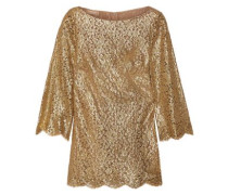 Metallic Corded Lace Blouse Gold