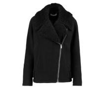 Shearling-trimmed wool-blend jacket