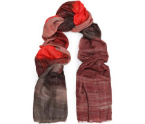Frayed metallic checked cashmere-blend scarf