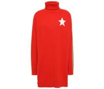 Woman Intarsia Cashmere-blend Turtleneck Sweater Tomato Red