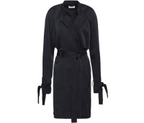 Kendall Washed-satin Mini Wrap Dress Black