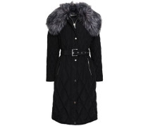 Faux Shearling-trimmed Quilted Shell Coat Black