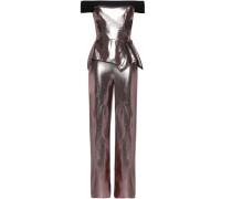 Off-the-shoulder metallic silk-blend jumpsuit
