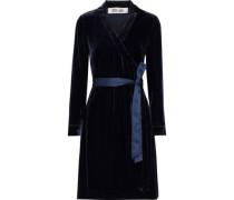 Tanya Satin-trimmed Velvet Mini Wrap Dress Navy Size 0