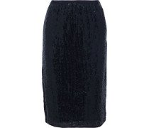 Woman Sequined Woven Skirt Midnight Blue