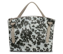 Floral-print leather tote