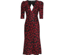 Colette Silk-satin Floral-jacquard Midi Dress Crimson