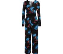 Belted Floral-print Silk Jumpsuit Black Size 0