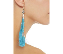 Tasseled gold-tone bead earrings