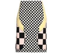Paneled cotton-blend mini skirt