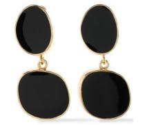 Gold-tone stone clip earrings
