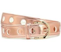 Metallic Leather Belt Rose Gold
