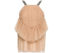 Bead-embellished Layered Tulle Top Sand