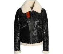 Crackled shearling aviator jacket