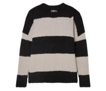 Woman Oversized Striped Wool-blend Sweater Black