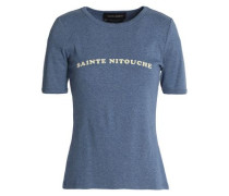 Flocked mélange cotton-jersey T-shirt