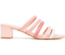 Woman Color-block Leather Mules Pastel Pink