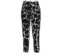 Printed silk tapered pants