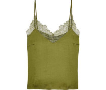 Camelia Chantilly Lace-trimmed Crinkled-charmeuse Camisole Leaf Green