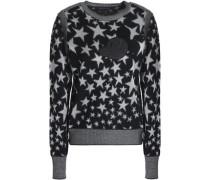 Metallic Jacquard-knit Wool-blend Sweater Black