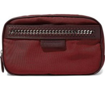 Faux leather-trimmed twill cosmetics case