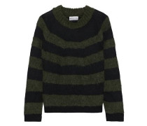 Striped Brushed Intarsia-knit Sweater Army Green